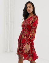 Morgan wrap front long sleeve dress with ruffle skirt in scarf print