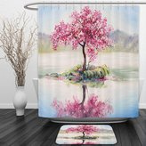 Vipsung Shower Curtain And Ground MatCountry Decor Image of Blooming Japanese Cherry Tree Sakura on the Lake Soft Romantic Culture MultiShower Curtain Set with Bath Mats Rugs