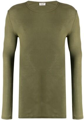Saint Laurent long sleeve ribbed t-shirt green