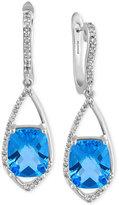 Effy Blue Topaz (6-2/3 ct. t.w.) and Diamond (1/4 ct. t.w.) Drop Earrings in 14k White Gold