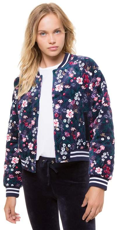 Juicy Couture Track Floral Quilted Velour Bomber Jacket