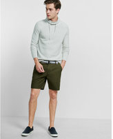 Express belted flat front 8 inch cotton shorts
