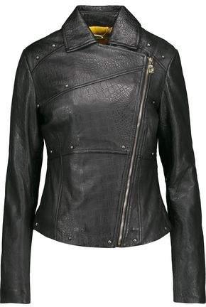 Versace Studded Croc-Effect Leather Biker Jacket