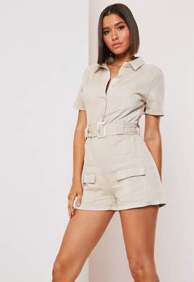 Missguided Sand Button Up Belted Cargo Playsuit