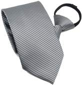 FSLESI New Mens Polyester Silk Stripe Zipper Neck Ties Wedding Neckties