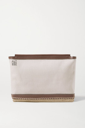 Altuzarra Espadrille Leather And Jute-trimmed Canvas Clutch - Ivory