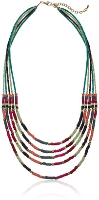 Panacea Green and Multi Colored Stone Beaded Strand Necklace 24