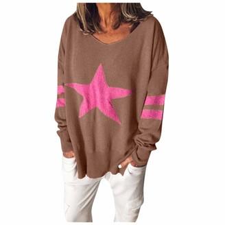 LOPILY Ladies Pentagram Print Sweater Women's Stripe Full Sleeve V-Neck Pin-Tuck Pullover Tops Casual Loose Knit Sweatshirt JumpersWhiteUK: 16/CN:M