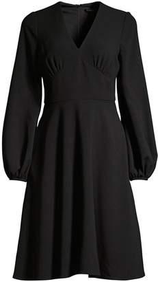 Black Halo Yvette Long-Sleeve Flare Dress