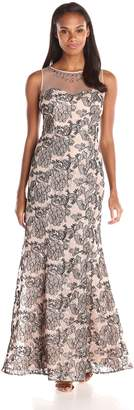 Ignite Women's Illusion Mesh Top Embroided Floral Evening Dress