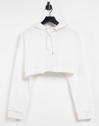 Monki Holly organic cotton cropped hoodie in off white