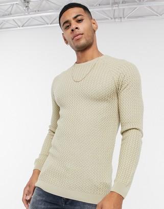 ASOS DESIGN muscle fit basket stitch crew neck sweater in ecru