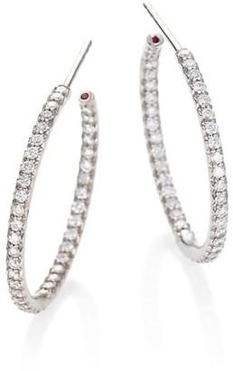 Roberto Coin 18K White Gold & Diamond Medium Hoop Earrings