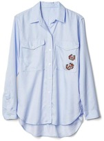 Gap Tencel® railroad stripe boyfriend shirt