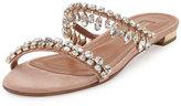 Aquazzura Eden Crystal-Embellished Slide Sandal, Light Pink
