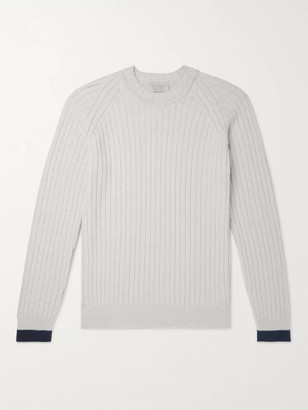 John Smedley Ezra Contrast-Tipped Ribbed Merino Wool And Cashmere-Blend Sweater