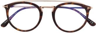Tom Ford Oval Frame Tortoiseshell Glasses