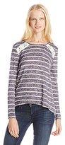 Jolt Juniors' Stripe Long-Sleeve Envelope Back Crochet Top