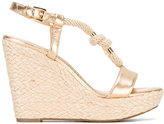 MICHAEL Michael Kors metallic wedge sandals - women - Cotton/Calf Leather/Leather/rubber - 38.5