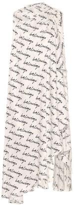Balenciaga Logo asymmetric silk midi dress