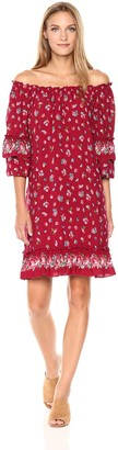 Max Studio Women's Smocked Off The Shoulder Layered Sleeve Dress