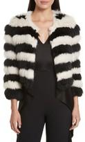Alice + Olivia Women's Fawn Stripe Genuine Rabbit & Fox Fur Jacket