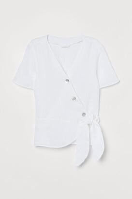 H&M Linen wrapover blouse