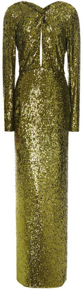 Dundas Twist-front Cutout Sequined Stretch-jersey Gown