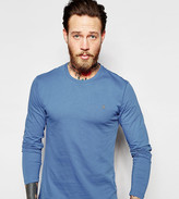 Farah Long Sleeve T-Shirt With F Logo In Slim Fit In Blue