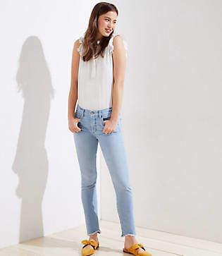 LOFT Petite Soft Slim Pocket Chewed Hem Skinny Crop Jeans in Staple Light Indigo Wash