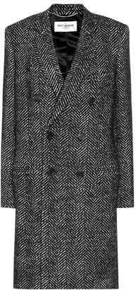 Saint Laurent Wool herringbone coat