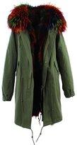 S.ROMZA Women Real Raccoon Fur Parka Casual Long Hooded Coat Detachable Jackets