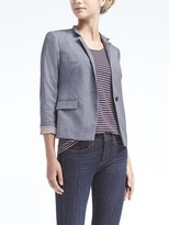 Banana Republic Crosshatch Stand-Collar Blazer