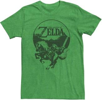 Licensed Character Young Men's Nintendo Legend Of Zelda Link Epona Circle Portrait Tee