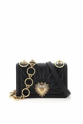 Dolce & Gabbana DEVOTION QUILTED NAPPA MINI BAG DOUBLE SHOULDER STRAP M Black Leather