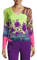 Etro Stampa Paisley V-Neck Sweater, Lime/Purple