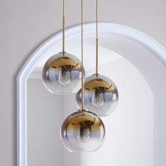 "west elm Sculptural Glass 3-Light Globe Chandelier - Metallic Ombre (20"")"