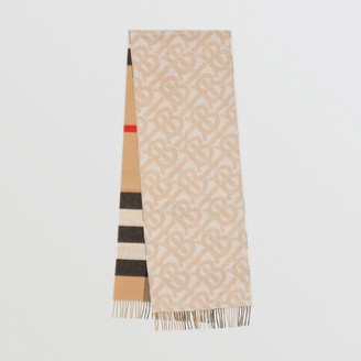Burberry Reversible Check and Monogram Cashmere Scarf