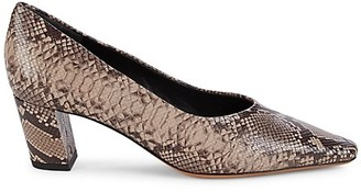 Vince Ania Snakeskin-Embossed Leather Pumps
