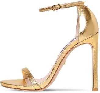 Stuart Weitzman 120mm Nudist Metallic Leather Sandals