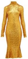 Norma Kamali High-neck Sequinned Fishtail-hem Dress - Womens - Gold