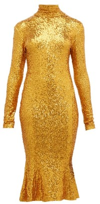 Norma Kamali High-neck Sequinned Fishtail-hem Dress - Womens - Gold