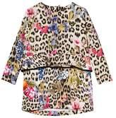 Roberto Cavalli Leopard and Floral Print Peplum Dress