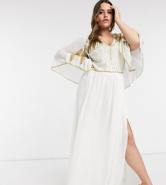 Virgos Lounge Plus thigh split maxi dress with embellished shoulders in ivory