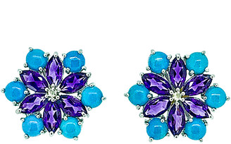 Arthur Marder Fine Jewelry Silver Diamond & Gemstone Floral Studs