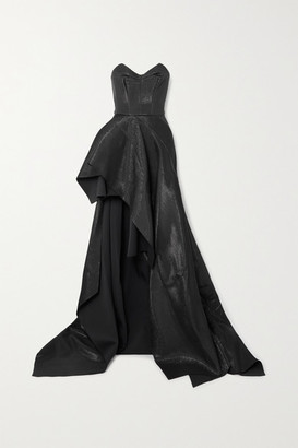 Maticevski Intoxicating Off-the-shoulder Draped Lame Gown - Black