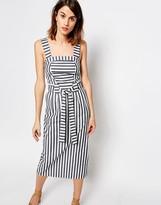 Warehouse Stripe Belted Midi Dress