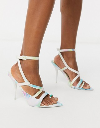 ASOS DESIGN Nash pointed insole heeled sandals in tie dye