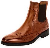 Salvatore Ferragamo Wing-Tip Brogue Leather Chelsea Boot, Cognac Brown