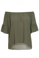 Quiz Khaki Frill Sleeve Bardot Top